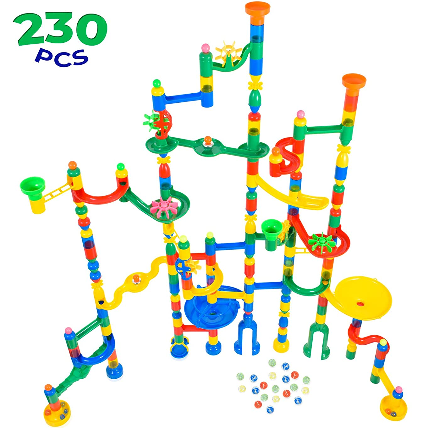 MagicJourney Giant Marble Run Toy Track Super Set Game I 230 Piece Marble Maze Building Sets w/ 200 Colorful Marble Tracks, 30 Marbles & 4 Challenge Levels for STEM Learning, Endless Educational Fun k35563986