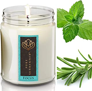 Focusing Rosemary Peppermint Aromatherapy Scented Candles for Home | 100% Pure Essential Oils | Non Toxic Long Lasting Soy...