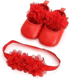 883b4cd04b265 LEvifun Chaussures Bébé 2pc Chaussures Princesse Bébé Fille Cuir + Bandeau  Souple Dentelle Anti-Slip