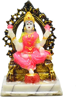 Generic Goddess Maa Lakshmi Idol on Singhasan in Marble Material | 4.5 inches | Ideal for Home Decor or showpiece | Home Temple puja | Navratri puja | Diwali puja | Gift Item