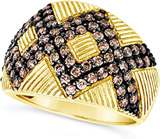 .925 Gold Vermeil Over Sterling Silver Art Deco Chocolate Brown Diamond Milgrain Wide Band Cocktail Ring For Women 1-1/4 C...