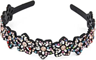 Yeshan Rhinestone and Crystal Beaded Flower Design Plastic Headband, Hairband for girls,Multicolor