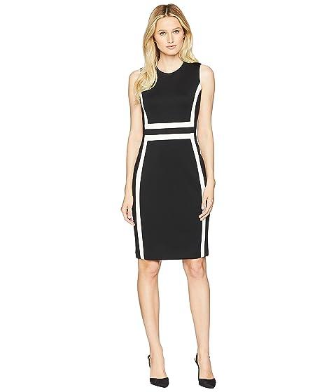 Crema CD8M1V5K Color Calvin Klein Scuba Negro Sheath Block Dress U8wqYw