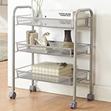 Chen Estantería del cuarto de baño puede mover Almacenamiento Rack Cocina Microondas Rack de horno Crack Shelf Net Basket Push Frame
