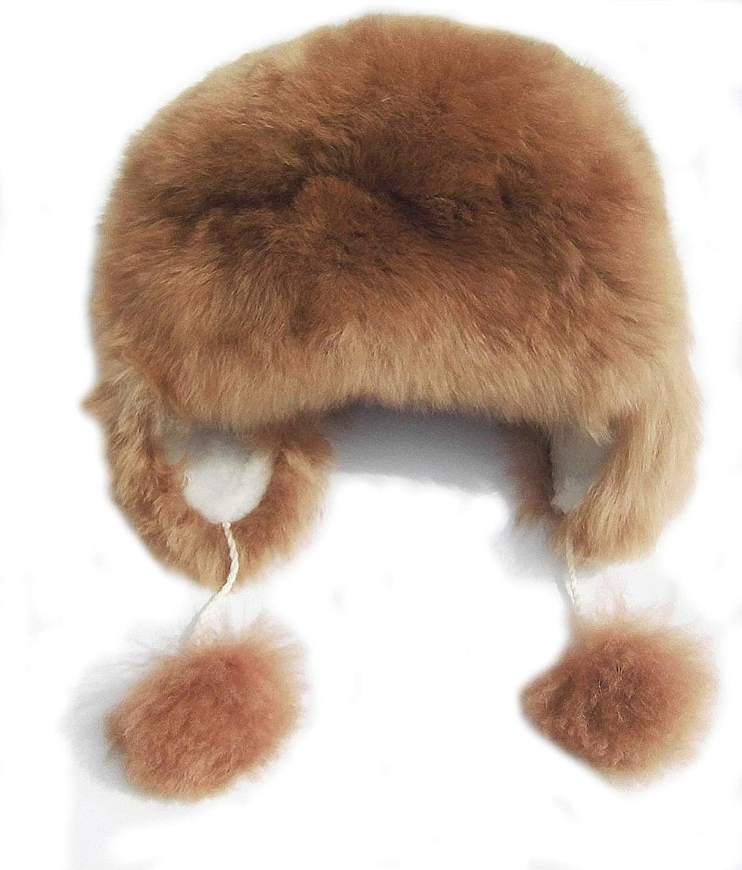 Alpakaandmore Womens Alpaca Fur Hat Winter Ski Brown Hat Earflap