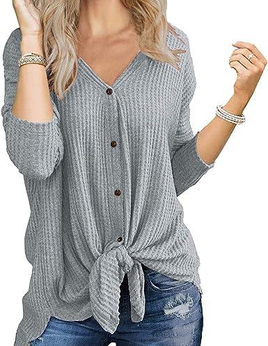 Mujer Tejer Cárdigan Cuello V Waffle Mangas Larga con Botón Punto de Nudo Corbata Blusa Camisetas Tops