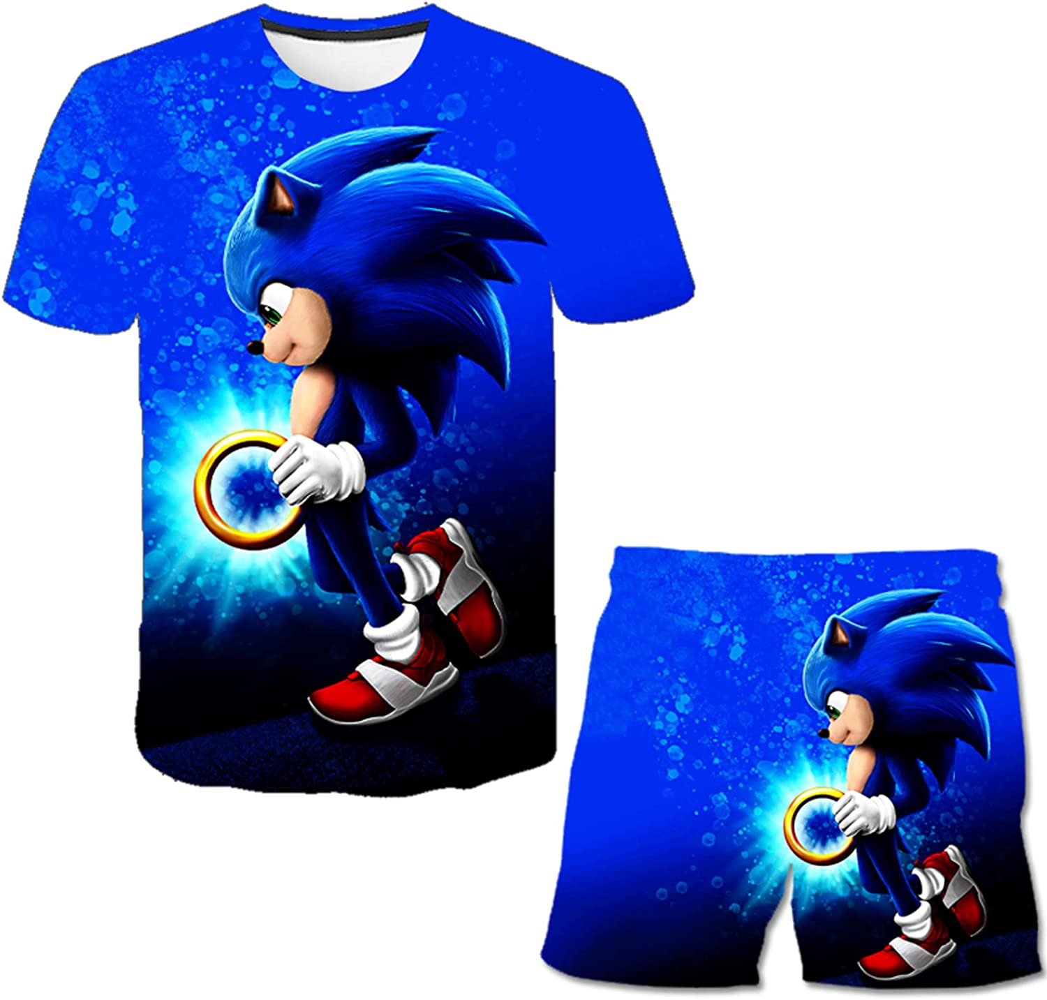 KLKNJC Youth Shirts Boys and Girls T-Shirt and Shorts 3D Printed Sports Short Sleeve Shorts Suit for Kids Teens