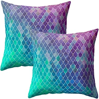 """Treely Mermaid Pillow Cases Decorative Mermaid Scale Throw Pillow Covers Set of 2 Cushion Covers 18"""" x 18"""" for Beach Couch..."""