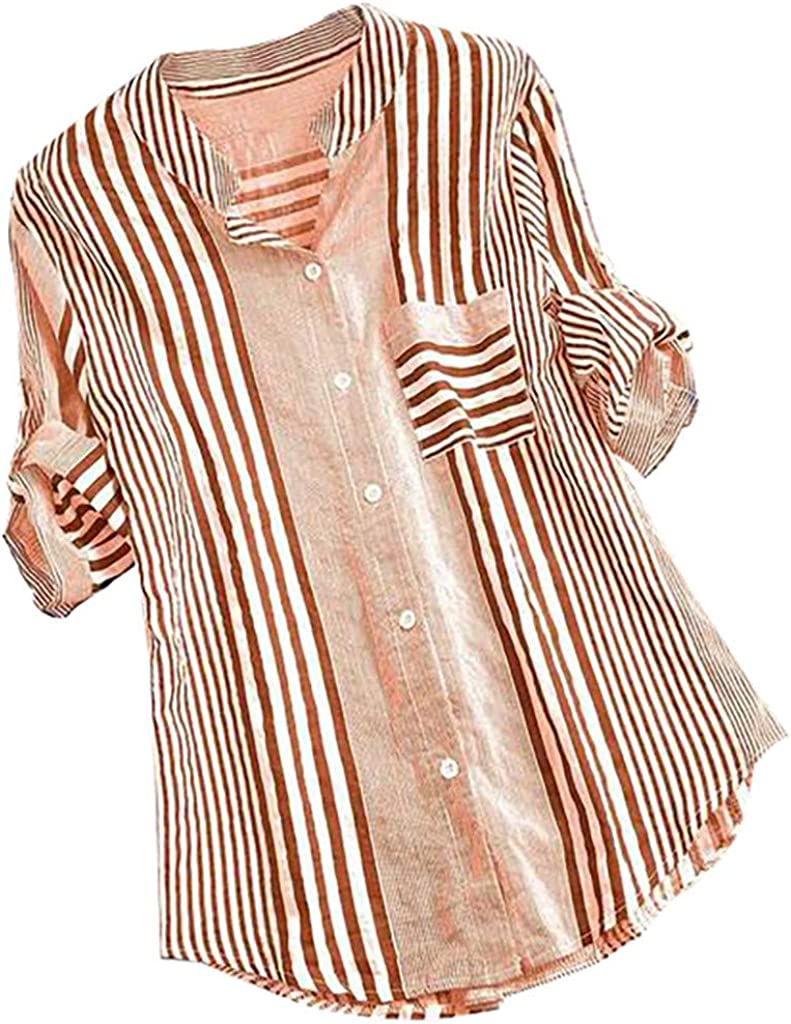 Afelkas Blouses & Button-Down Shirts Vertical Stripe Printed Top Stand Collar Roll Sleeve Pocket Tunic Office Casual Tee