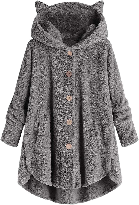 Forwelly Womens Oversize Long Sleeve Hooded Sweatshirt Fluffy Plush Warmer Loose Hoodies Button Jacket