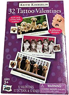 Keith Kimberlin Puppies and Kittens Valentines with tattoos 32 pack
