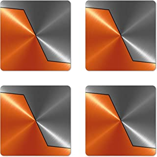 Ambesonne Orange and Grey Coaster Set of 4, 3D Style Machinery Structure Image Detailed Vivid Modern Contrast Colors, Square Hardboard Gloss Coasters for Drinks, Standard Size, Orange Gray