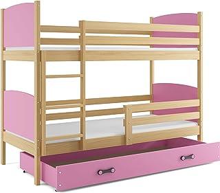 Interbeds Cama Doble - litera Infantil,Tami, 160X80, Color Pino, los Paneles (colchones,somieres y cajón Gratis) (Rosa)