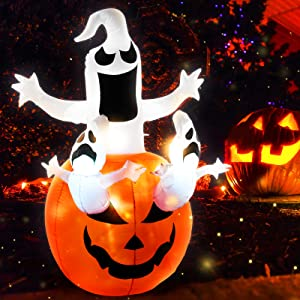 Sibytech 6FT Halloween Inflatables Pumpkin Ghost Decoration with Build-in LED Large Outdoor Halloween Holiday Party Decor for Indoor,Front Yard, Garden, Porch,Lawn Decorations