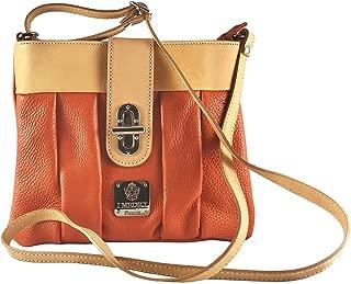 I Medici Women Genuine Leather messenger Bag Orange Leather 307