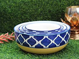 Unique SS Ceramic Classic Mixing and Serving Bowls Set (Blue and Yellow) - Set of 4