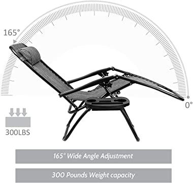 Flamaker Patio Zero Gravity Chair Outdoor Folding Lounge Chair Recliners Adjustable Lawn Lounge Chair with Pillow for Poolsid