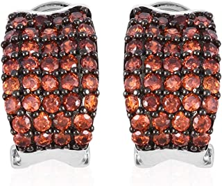 Red Cubic Zirconia CZ Omega Clip Hoops Hoop Earrings Round Garnet Dualtone Jewelry for Women Ct 4.9