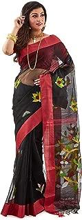 SareesofBengal Women's Handloom Muslin Dhakai Jamdani Silk Saree Black