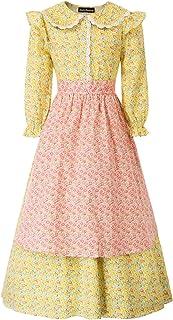 SCARLET DARKNESS Mädchen Kinderdirndl 3 Teiliges Trachtenkleid Set Kleid mit Hut und Schürze
