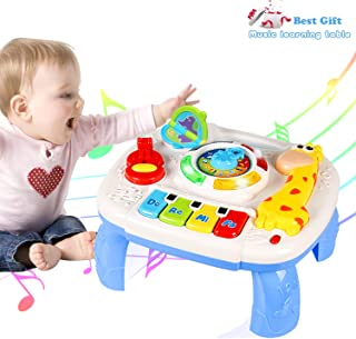 HOMOFY Baby Musical Learning Activity Table ,Built-in Animal Sounds, Music & Light Function,Early Development Baby Pull Toy for 1 2 3 Year Old Best Gift for Boys and Girls
