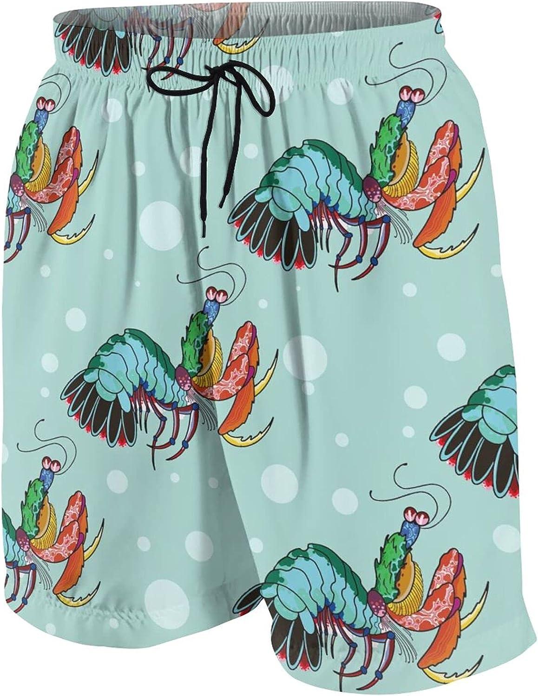 FuYin Boys Teens Swim Trunks Shrimp Pattern Quick Dry Beach Board Swim Shorts 7-18T