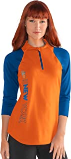 G-III Sports NBA New York Knicks Women's Zip It Up 3/4 Sleeve Tee, XX-Large, Orange