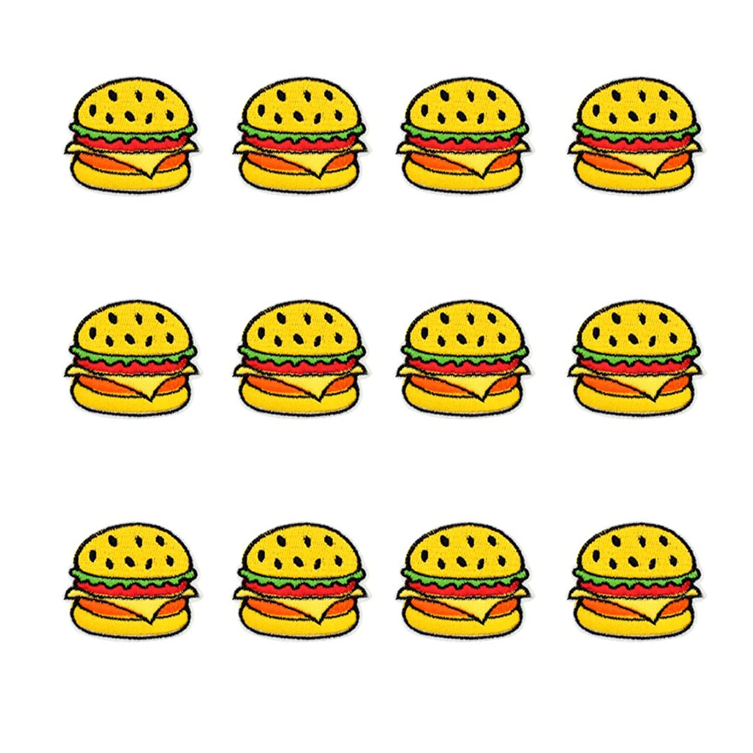 XUNHUI Embroidered Hamburger Patch for Clothing Iron on Sew Applique for Jackets Jeans Patch for Clothes Bags Sticker Badge 12Pieces