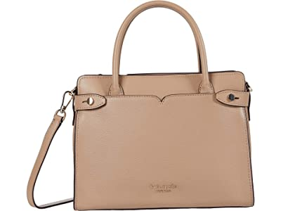 Kate Spade New York Clean Toujours Medium Satchel (Raw Pecan) Handbags