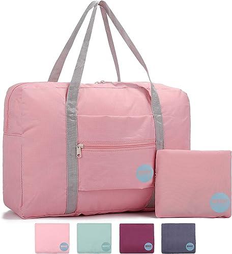 WANDF Foldable Travel Duffel Bag Sac de Voyage Pliable Sac de Sport Gym Résistant à l'eau Nylon (25L Rosé)