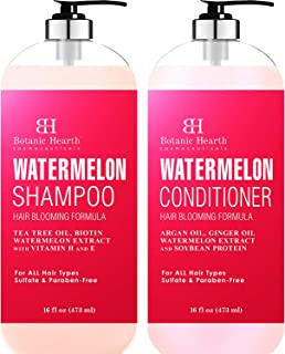 BOTANIC HEARTH Watermelon Shampoo and Conditioner Set - Fights Hair Loss, Moisturizes and Promotes Hair Growth, Sulfate & Paraben Free - for ALL Hair Types, for Men and Women - 16 fl oz x 2