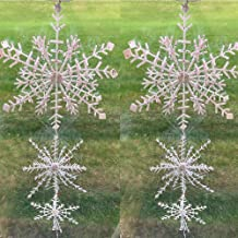BANBERRY DESIGNS 3D White Glitter Snowflake Garland - Large Iridescent Snowflakes- Set of 3 Snowflake Garland Decorations ...