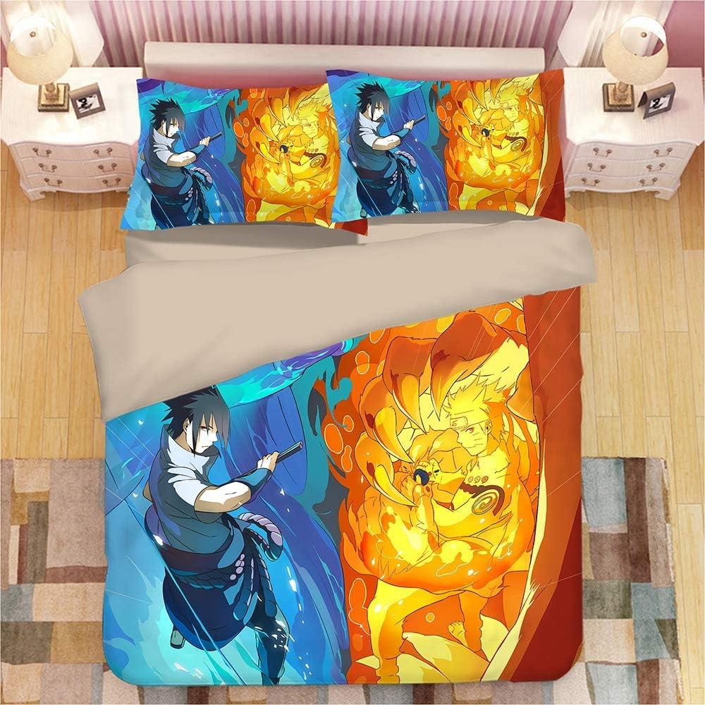 3D Bedding Set Copripiumino 3D Stampa Naruto in Microfibra Bedding Comforter Copre Matrimoniale, Con Chiusura a Cerniera,UKSuperking Twin
