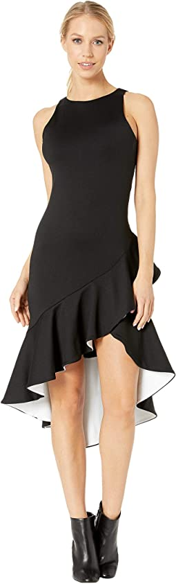 Contrast Ruffle Sleeveless Dress