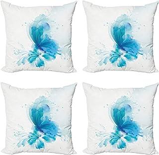 ABAKUHAUS Acuarela Set de 4 Fundas para Cojín, Mariposa en la Flor, Estampado Digital en Ambos Lados y Cremallera, 45 cm x 45 cm, Azul Cielo Azul Blanco