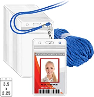 MIFFLIN Lanyard with Vertical ID Holder (Blue Non-Breakaway Cord, 3.5x2.25 Inch Card Holder, 50 Pack)