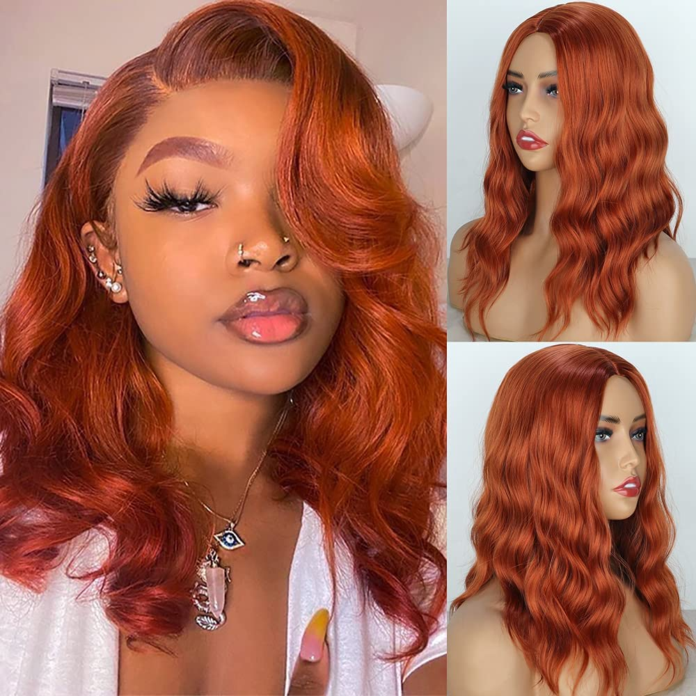 PORSMEER Peluca Pelirroja Corta ondulada Bob para Mujer naturales 150% Densidad Color Rojo Naranja Longitud del Hombro Pelo natural cengibre para Cosplay Disfraz o Diariamente