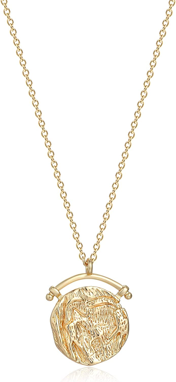 MEVECCO Carved Gold Coin Pendant Necklace for Women Girls Men,18K Gold Plated Dainty Minimalist Necklace for Women