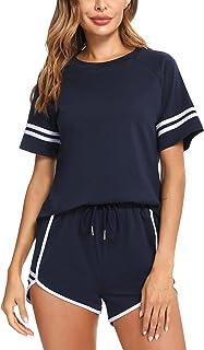 Aibrou Survêtement Ensemble Femmes Col Rond Manche Courte Tee Survêtement Et mode Rayé Sportswear Shorts pour Casual Pyja...