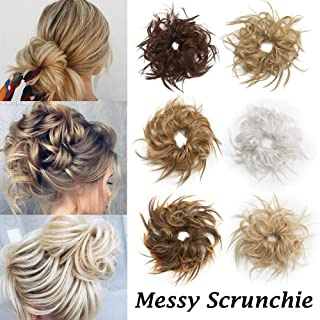 Scrunchie Hair Bun Extension With Elastic Rubber Band Wrap On Fluffy Hair Extensions Updo Chignon Donut Messy Ponytail Hairpiece Tousled Hair Bun Synthetic For Women (Bleach Blonde)