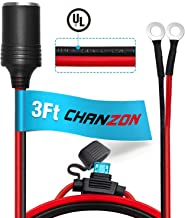 [UL Wire]Chanzon Female Cigarette Lighter Outlet 3Ft + Eyelet Terminal Plug Power Supply Cord 12V 16AWG Heavy Duty Cable Accessory 15A Fused DC Power 12 24 Volt Socket for Car Tire Inflator Air Pump