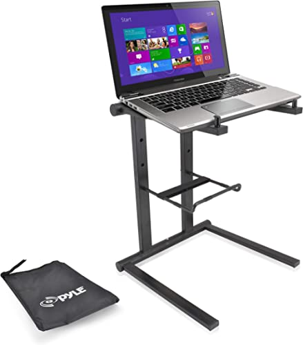 Pyle Portable Folding Laptop Stand - Standing Table with Foldable Height and Secondary Accessory Tray for iPad, Table...