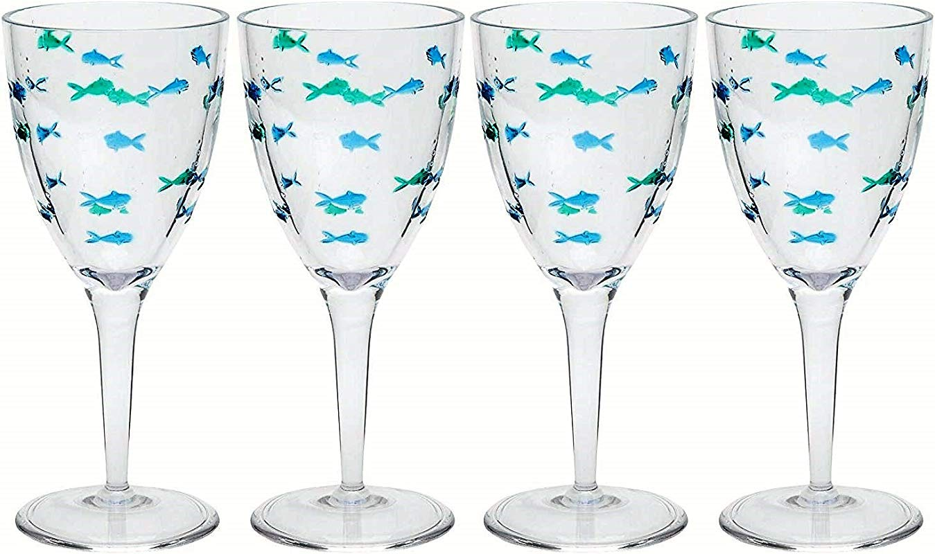 Coastal Acrylic Swimming Fish Wine Glasses Set Of 4