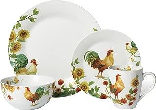 Pfaltzgraff 5155535 Garden Rooster Dinnerware Set (16 Piece), Assorted