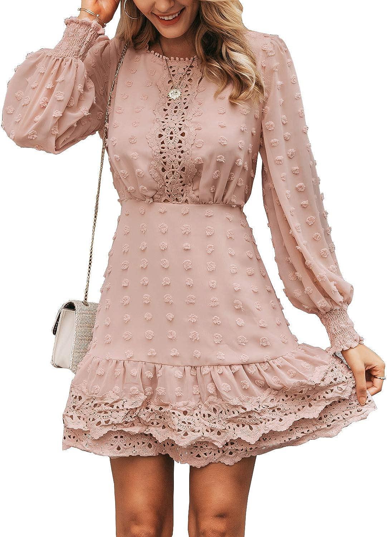 Miessial Cheap mail order shopping Women's Summer V Nippon regular agency Neck Dress Mini Chiffon Elegant Ruffle