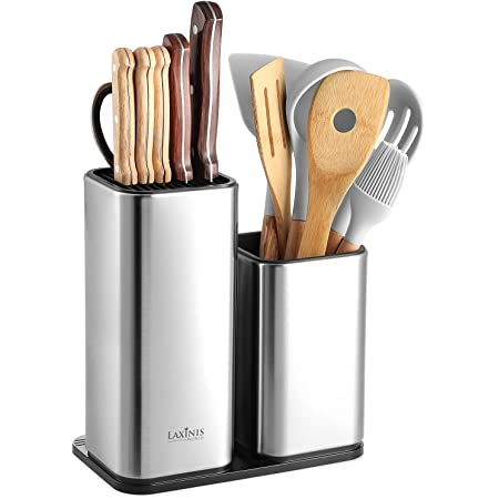 Knife Holder and Utensil Holder - Stainless-Steel Modern Rectangular Design Universal Knife Block and Kitchen Utensils Organizer for Counter-top