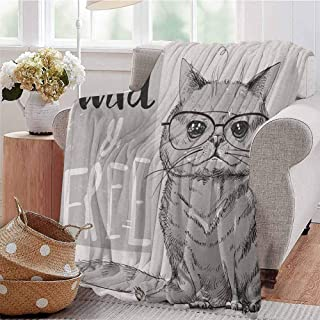 Luoiaax Modern Commercial Grade Printed Blanket Portrait of Hipster Cat with Extra Wild and Free Typography Humor Illustration Queen King W60 x L50 Inch Pale Grey Dust