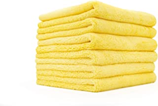 The Rag Company (6-Pack) 16 in. x 16 in. Minx Professional Edgeless 70/30 Blend 380 GSM Super Plush Microfiber Polishing, Buffing, Waterless, Rinseless, Car Wash Detailing Towels (16x16, Yellow)