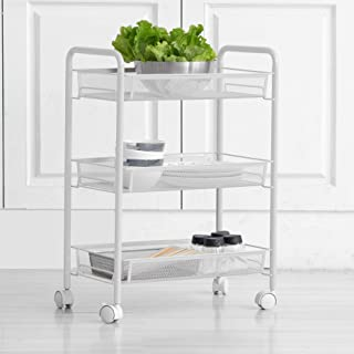 Iris'Home 3-Tier Rolling Cart, Utility Cart for Bathroom, Kitchen, Office, Storage on Wheels, File cart, Storage Rack, Mesh Designing -White