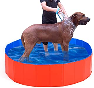 Lumcrissy Foldable Portable Extra Large Dog Pet Bath Pool,Swimming Pool Bathing Tub 47inch.D x 12inch.H, Folding PVC Pool ...
